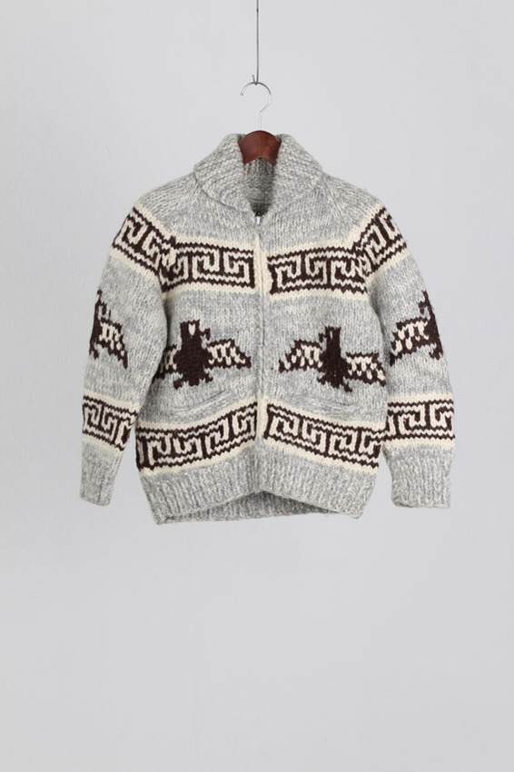 80's Cowichan Heavy Wool Zip-up